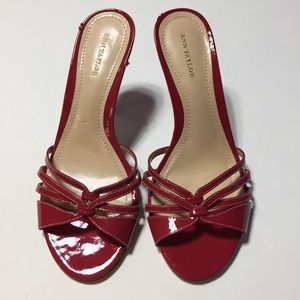 Ann Taylor Red Patent Leather Slides